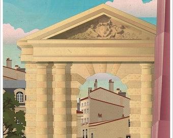 Illustrated poster place de la Victoire Bordeaux