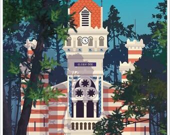 Illustrated poster grass Algerian villa Chapel