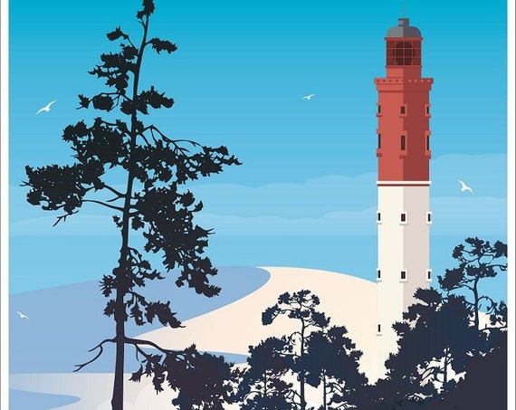 Illustrated poster Cape Ferret lighthouse and dune