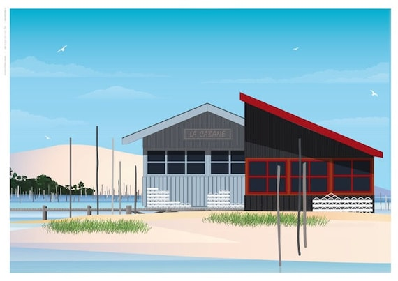 Illustrated poster cabins Port Oyster Bay Arcachon