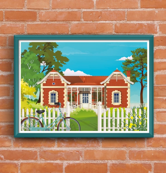 Poster illustrated villa Soulac