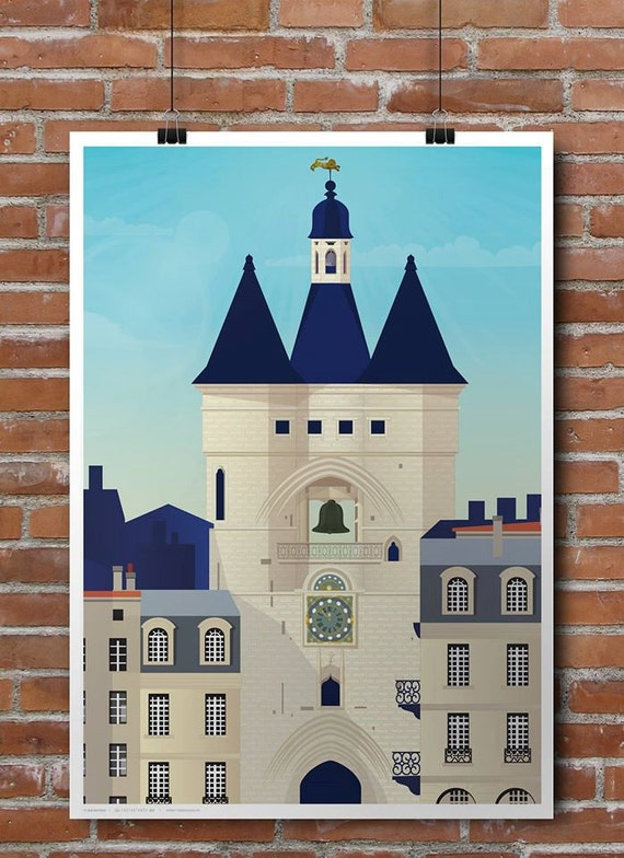 Large illustrated poster Bell Bordeaux
