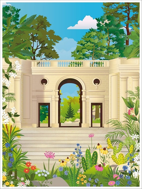 Illustrated poster Jardin public Bordeaux