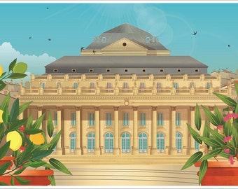 Illustrated poster Grand Théâtre de Bordeaux