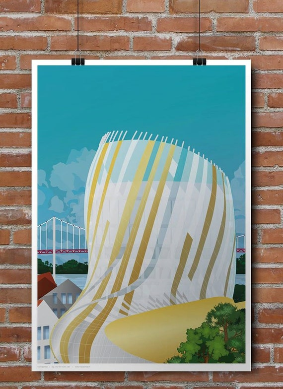 The city of Bordeaux wine poster