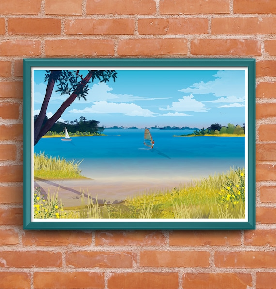 Poster illustrated Lake windsurfing