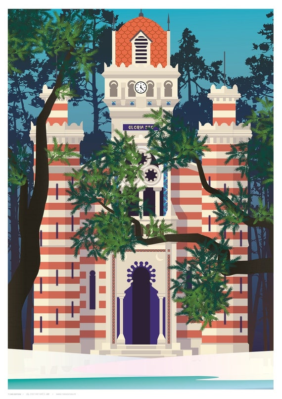 Illustrated poster grass Algerian villa Chapel