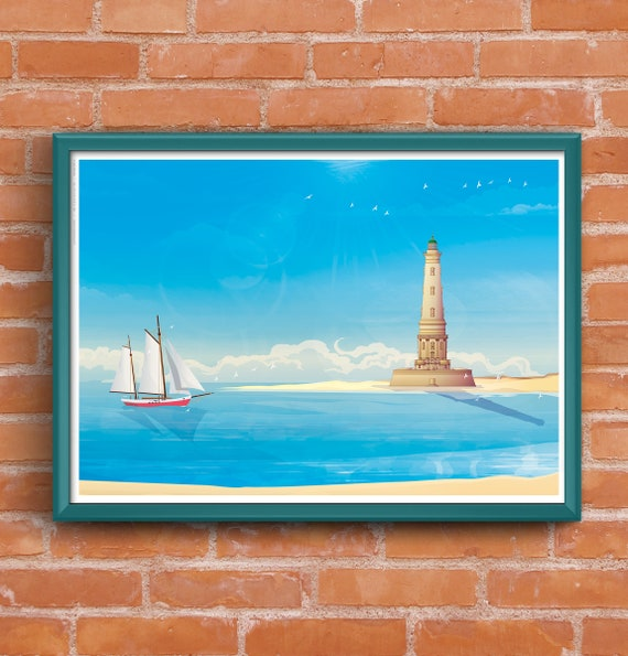 Illustrated poster Cordouan lighthouse
