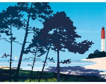 Illustrated poster Pins Cap Ferret Bordeaux