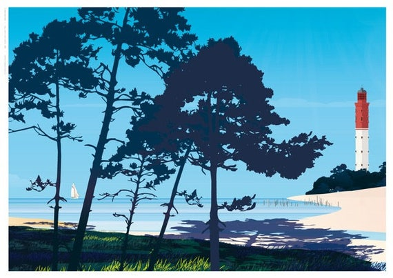 Poster illustrated pines Cap Ferret Bordeaux