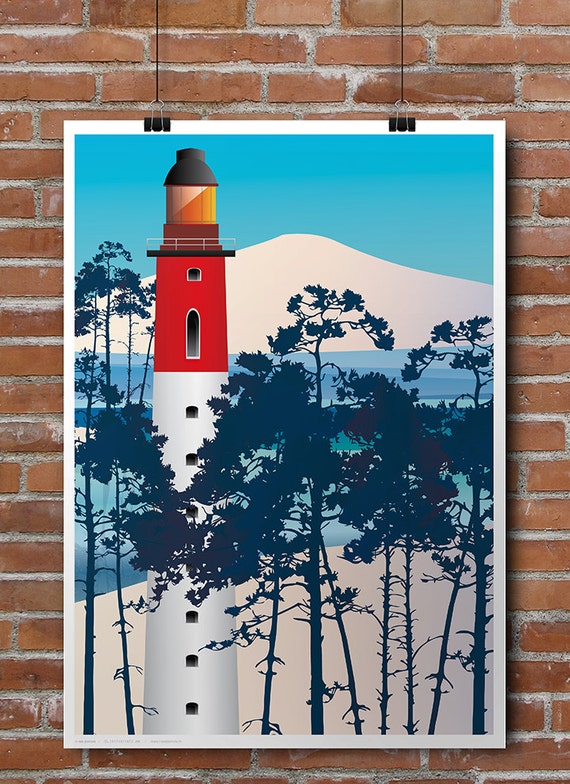 Poster illustrated lighthouse of the Cap Ferret