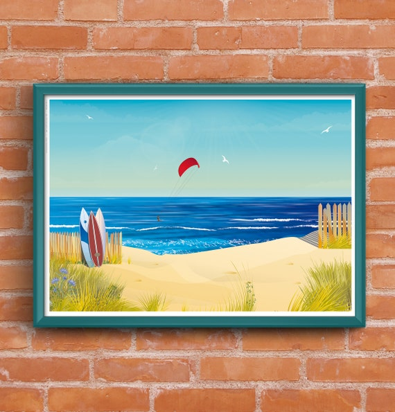 Surf and Kite surfing Lacanau Ocean poster