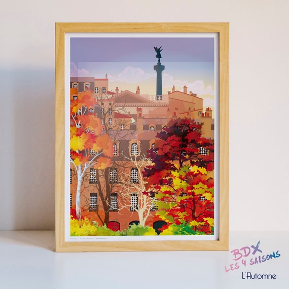 Illustrated poster Bordeaux in autumn