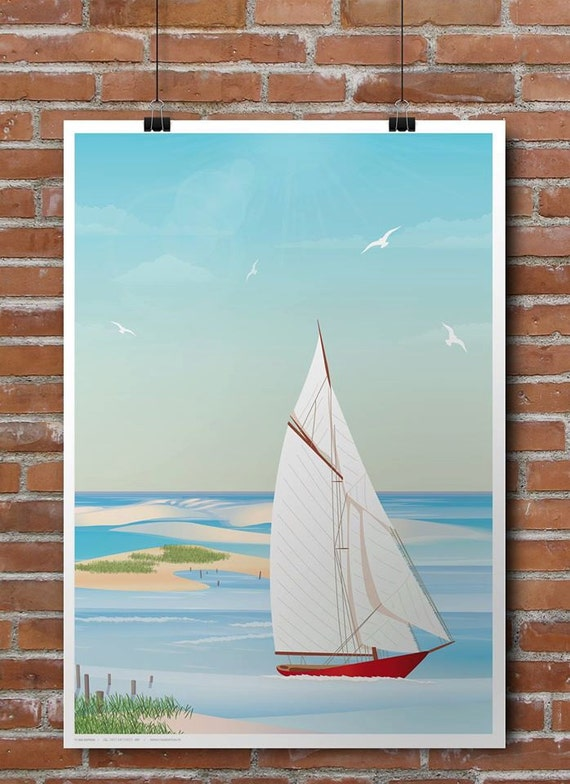 Sailboat poster on Arguin bench / boat
