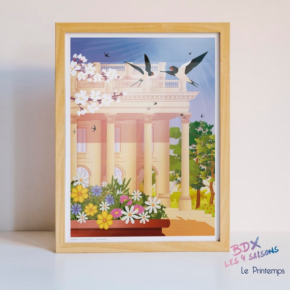Illustrated poster Bordeaux in spring