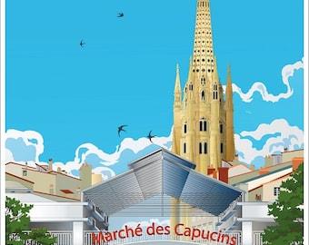 Illustrated poster Les Capucins Quartier Saint Michel Bordeaux
