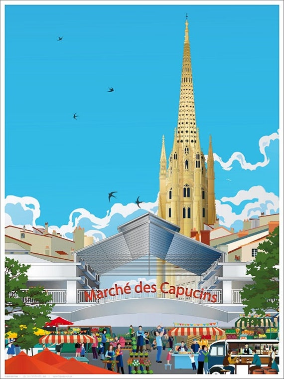 Illustrated poster Les Capucins Quartier Saint Michel Bordeaux