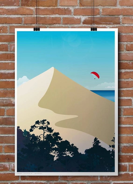 Illustrated poster of the dune du Pilat