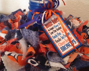 "Denver Broncos, 12"" Fabric Wreaths, Rag Wreaths, Fathers Day, Rag Candle Ring, Mason Jar Votive, Small Wreath, Homespun Decor, Country Decor"