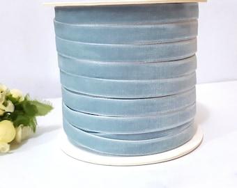 3/8 inch / 1cm / 10mm width - 5 yds - 33 yds Nile Blue  / Grayish Blue / Dusty Blue Velvet Ribbon Trim Craft Wrap W21 -078