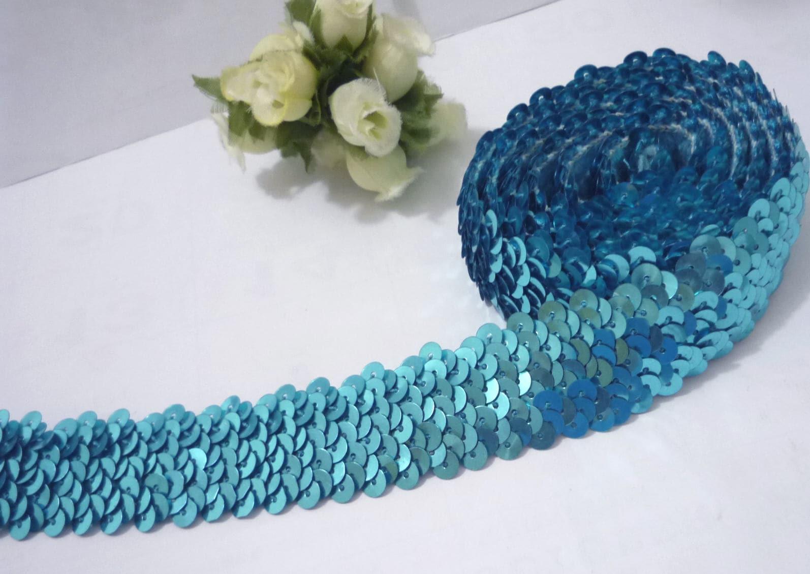 1 po/2,5 cm de largeur - - largeur 9 yds Turquoise Bleu Stretch rond Sequin élastique SQ9 05fa7b