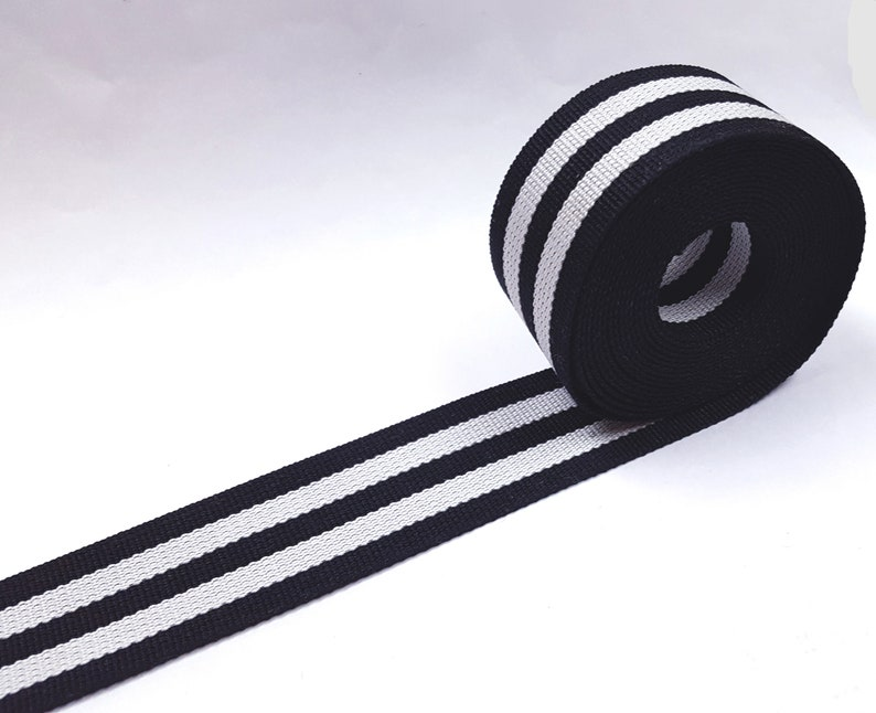 "1-1//4/"" 3cm Strong Heavy Duty Black Gray Stripe Grosgrain Ribbon Poly tape GR16"