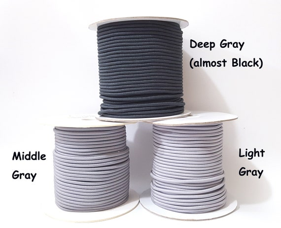 3 yards Black Shock CORD ROUND stretch round elastic bungee 1//8 diameter