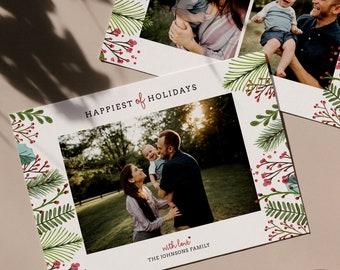Christmas Card Photoshop Template, Holiday Card, Family Card Template, Christmas Photo Card - Joy All Around CD041