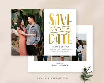 Save the Date Template for Photographers Lenoria SD043 Photoshop Templates Gold Save the Date Card Announcement Engagement Photography