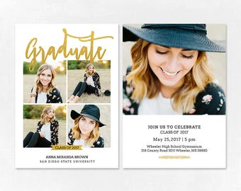 Graduation Announcement Template | Graduation Announcement Template Etsy