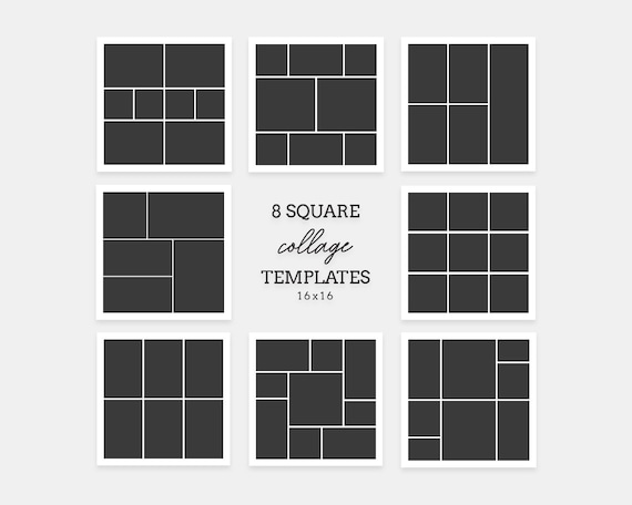 Collage Template Photoshop Square Collages Bundle 8x Blog Boards Collage001