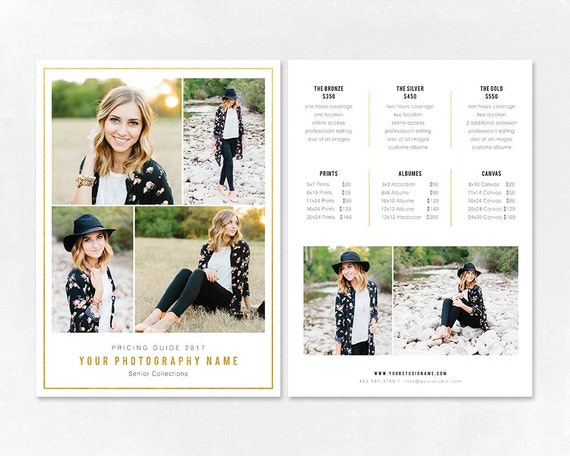 Photography Pricing Template Price Guide List For Etsy