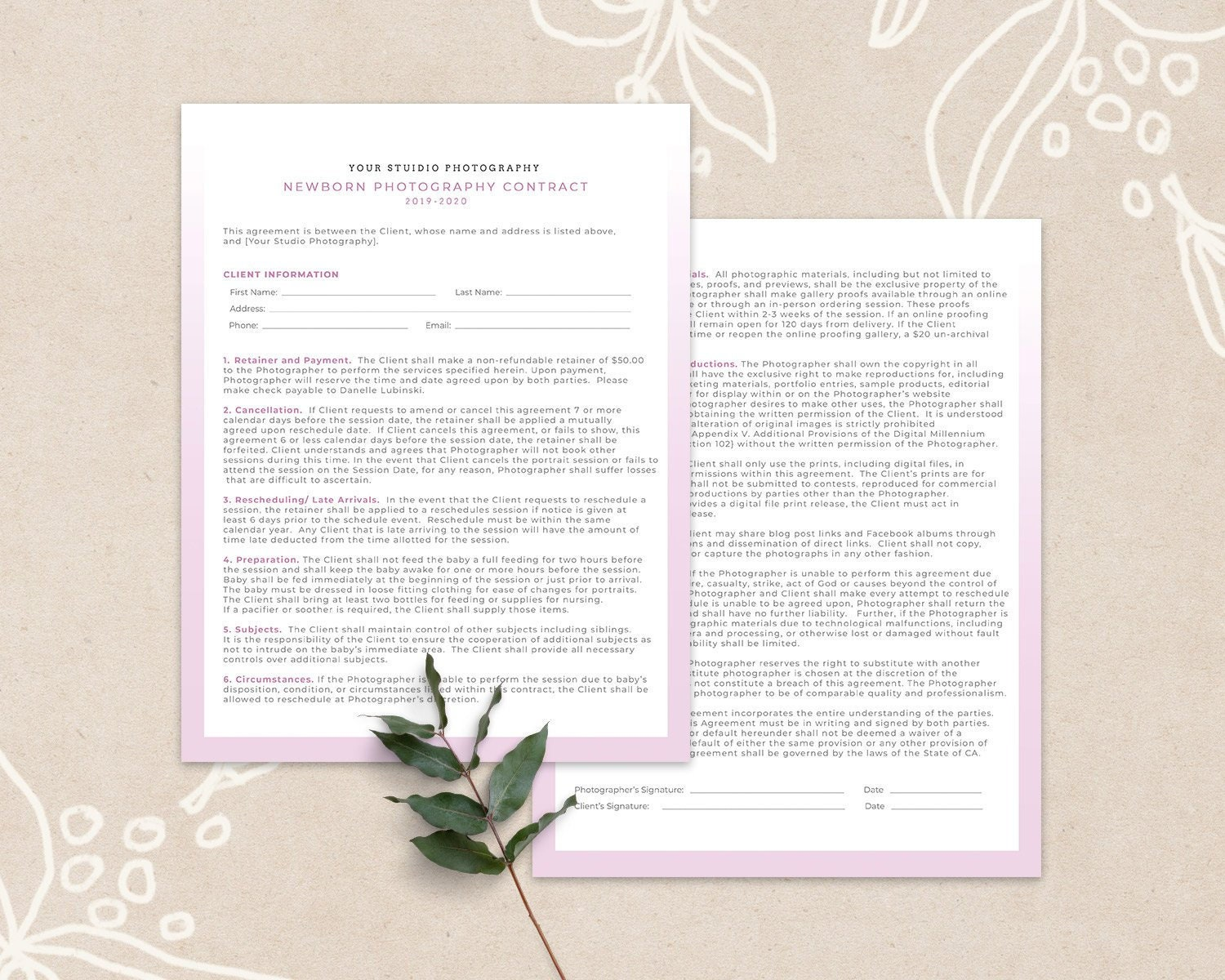 Newborn Contract Form, Client Contract Photoshop Template, Newborn  Photography Template, Contract Template 002