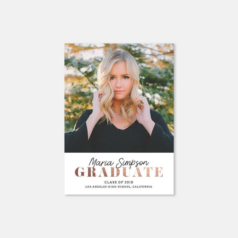 Graduation Card Template for photographers Graduation Card GC066 High School Card Senior Photography Template