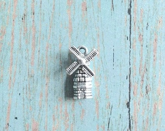 Windmill charm with moveable parts 3D (1 piece) - silver windmill pendant, Holland charm, Netherlands charms, Europe charms