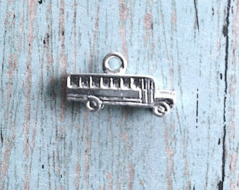 School Bus charm 3D silver plated pewter (1 piece) - silver school bus pendant, school charms, teacher charms, bus charm, MM2