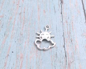 10 Sun charms (1 sided) antique silver tone - sun pendants, cloud charms, weather charms, cloud pendants, silver sunshine charm, BX 303