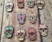 25 Wooden Sugar Skull buttons (random asstd.) - skull sewing supplies, wooden button findings, sewing notions, colorful skull buttons, B27