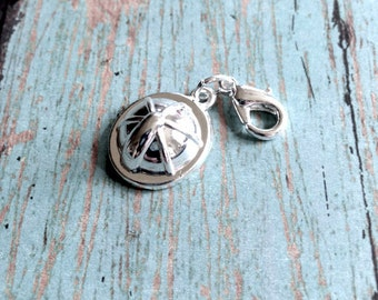 Construction helmet charm 3D silver plated - silver construction hat pendant, hard hat charm, construction worker charm, safety charm, II11
