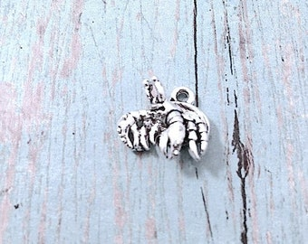 Small Hermit Crab Charm 3D Silver Plated Pewter (1 Piece)   Silver Crab  Pendant, Hermit Crab Pendant, Pet Crab Charm, Crustacean Charm, BB17