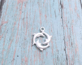 8 Dolphins charms (2 sided) shiny silver tone - silver dolphin pendants, ocean charms, sea mammal charms, beach charms, Florida charms, X13