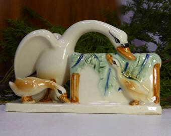 Porcelain Swan. MOM and baby Swan. Made in Japan. 60 years. Swan. Planter. Plant. Cactus. Nature decor. Sixties decor