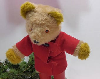 Vintage Paddington bear. 19 inches. 49 cm. Orange glass eyes. Red coats and boots. Teddy bear. Gabrielle designs. 70-80's