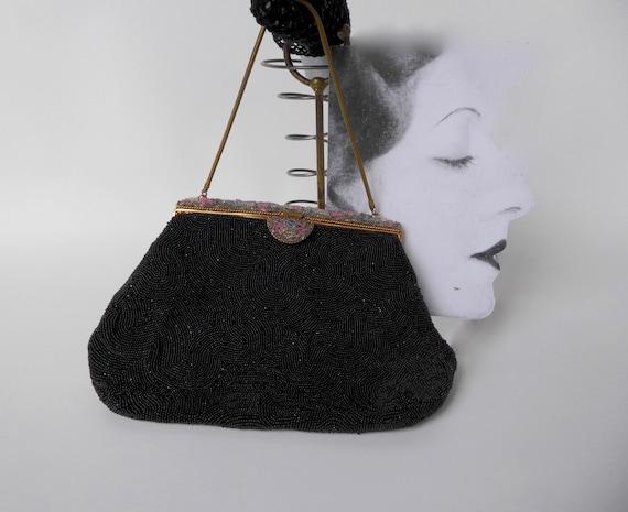 Black beaded handbag 50 years. Vintage evening han