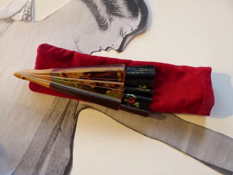 Flamenco Spanish fan folded double-sided Smellwood and hand-painted black canvas Matador Bullfight Folklore Spain. Year 30