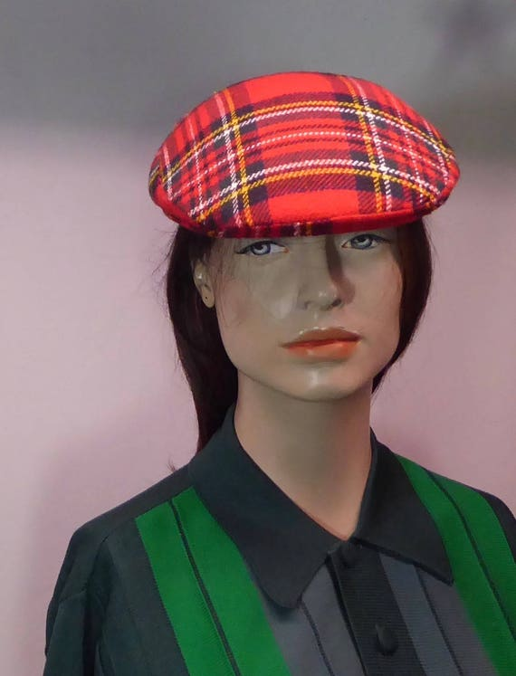 Golf Cap flat tartan English. Beret hat. felt and wool. scott 99c08761bd3
