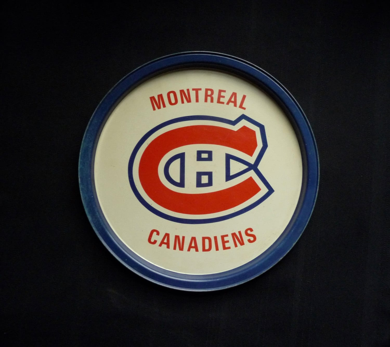 Metal tray  Tin  Vintage  hockey  Canadian Montreal  Logo