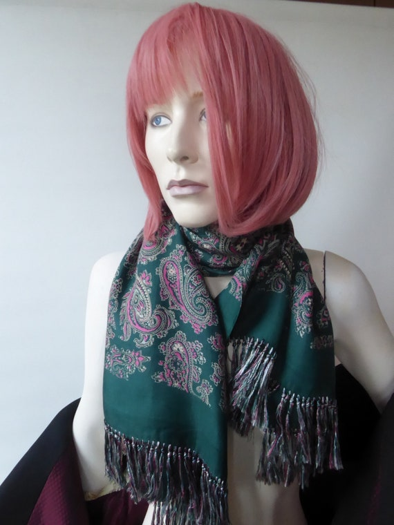 Pink and green paisley scarf. Hand-blocked silk En