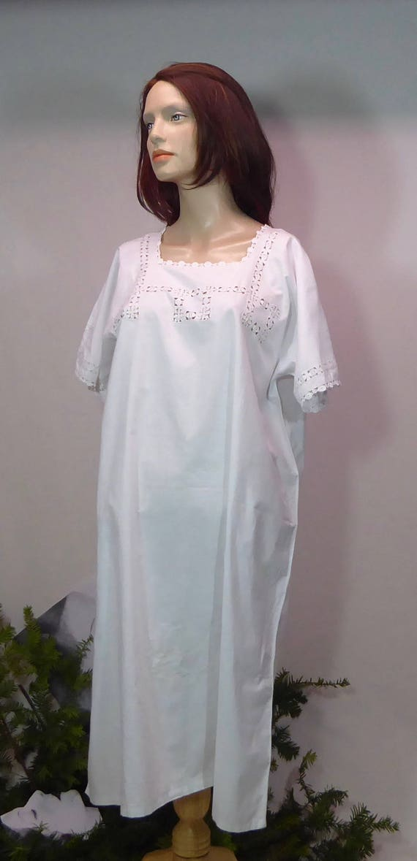 Nightgown white linen cotton. Dress Edwardian crochet .motifs  dd84adafc