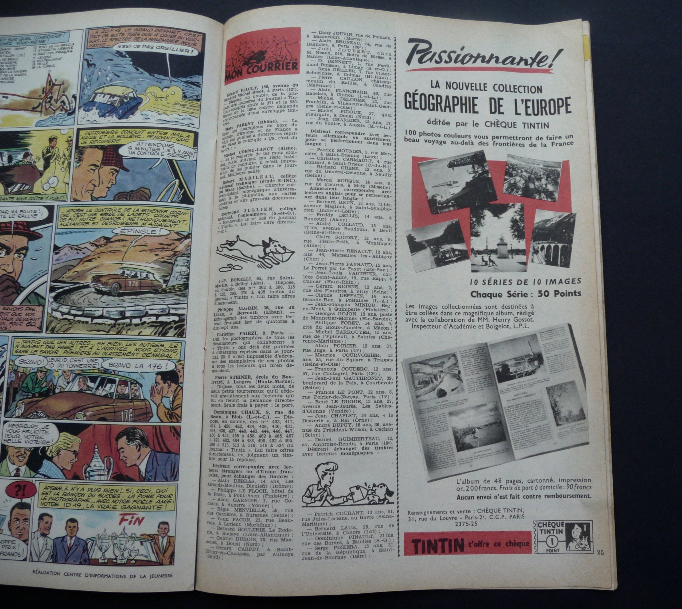 40bbacbe7b7cf Journal Tintin.12 March 1959. 11th year. n.542 French Edition. Race ...